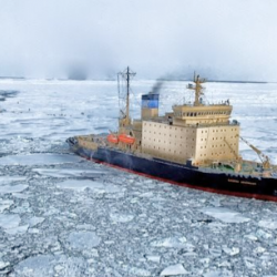 Cargo ship near ice